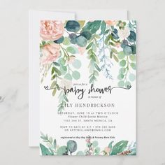 Baby in Bloom   Floral Baby Shower Invitation Baby Shower Flowers, Floral Baby Shower, Baby Shower Parties, Baby Shower Themes, Shower Ideas, Baby Showers, April Showers, Bridal Showers, Shower Party