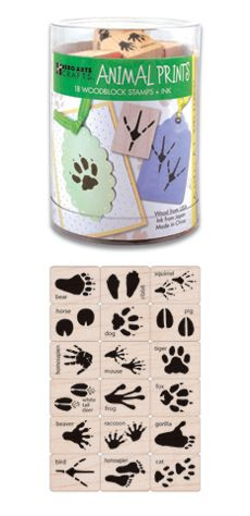 Camping theme - ANIMAL TRACKS RUBBER STAMP KIT.(But I'd cover up the names of the animals, so that the kids have to guess.)