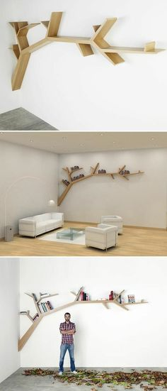 Creative Tree Bookshelf Designs Offering Natural Look : Exquisite Light Wood Tree Shaped Bookshelf Design Inspiration in White Themed Living Room with White Leather Sofa