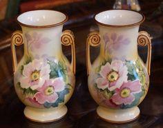 Set of 2 Nippon Vases Art Nouveau Design, Art Deco, Victorian Design, Paint Set, Beautiful Hands, Porcelain, Hand Painted, Vases, Floral