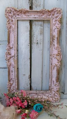 Large picture frame shabby chic vintage pink by AnitaSperoDesign