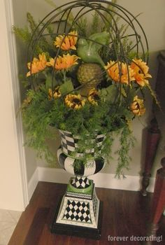 A s promised, I told you that after sharing my awesome shopping experience at Nell Hill& in Kansas City, that I would show you . Mackenzie Childs Inspired, Mckenzie And Childs, Silk Flower Arrangements, French Country Decorating, Garden Art, Garden Planters, Inspired Homes, Silk Flowers, Flower Pots