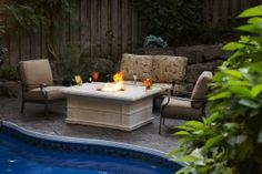 outdoor fire pit and fireplace table http://www.mantelsdirect.com/mantel-blog/What-Outdoor-Fire-Pit-is-Right-For-You #backyard #patio #products