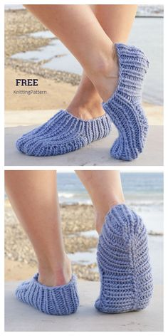 Easy Knit Rib Slippers Free Knitting Patterns - Knitting Pattern Knitting Stiches, Easy Knitting Patterns, Knitting Socks, Free Knitting, Knitting Projects, Crochet Patterns, Crochet Projects, Knit Slippers Free Pattern, Knitted Slippers