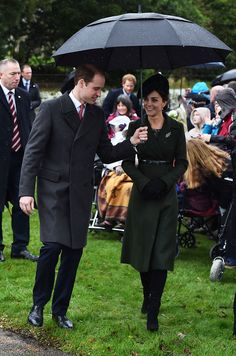 The duchess wore a tailored forest green Sportmax coat while attending the royal family's annual Christmas Day church service at St. Mary Magdalene Church.