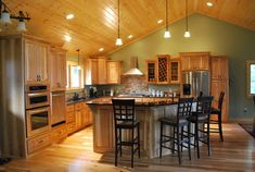 15 Best Rustic Kitchen Cabinet Ideas and Design Gallery Discover BEST photos and Galleries about hickory rustic kitchen cabinet ideas here :) Hickory Kitchen Cabinets, Painting Kitchen Cabinets, Kitchen Cabinetry, Oak Cabinets, Cupboards, Kitchen Wall Colors, Kitchen Colour Schemes, Kitchen Decor, Kitchen Ideas