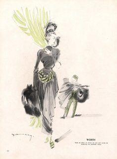 Worth 1947 Demachy Evening Gown, Fashion Illustration, Groom