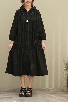 Fold Long Cotton Hooded Duster Coat Women Clothes