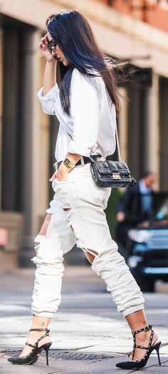 Jade Seba Neutral Tones Ripped Jeans Fall Inspo