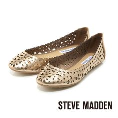 STEVE MADDEN -- 雷射切割簍空春意盎然娃娃鞋-- 花園金 - Yahoo!奇摩購物中心