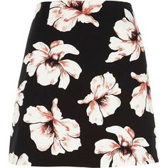 River Island Black floral print mini skirt ($60) ❤ liked on Polyvore featuring skirts, mini skirts, black, women, short skirts, floral miniskirts, floral printed skirt, short mini skirts and flower print skirt