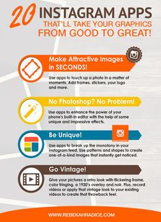 20 Apps that'll take your graphics from good to great - Instagram Apps, Instagram Marketing Tips, Instagram Images, Social Media Marketing Business, Marketing Goals, Marketing Strategies, Good To Great, No Photoshop, The Help