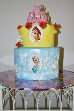 Disney princess birthday cake with Elsa and Belle? Perfect for your ...