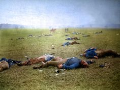 """Colorized version of """"Harvest of Death"""", taken in 1863 after the battle of Gettysburg."""
