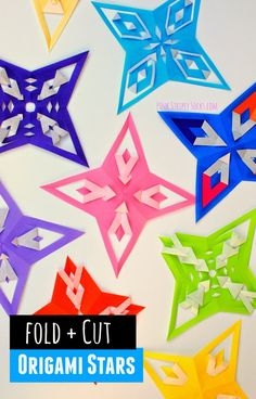How to fold and cut origami stars- Really easy and simple process with great geometric results.  This would be a super fun kids' activity!