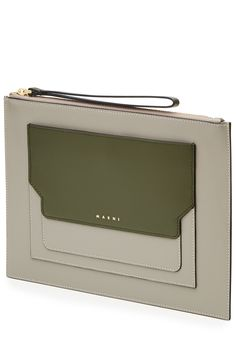 Streamlined and slick, this leather clutch from Marni is a versatile investment that won't date in understated grey and green coloring. Carry it for day with boyfriend jeans, or take it into evening with a fitted dress Grey and olive green leather, writs strap, zipped top, fabric lining, internal card slots Carry it by the wrist strap or hold it close