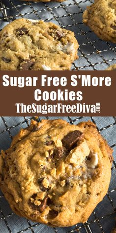 Sugar Free SMore Cookies, perfect cookie or dessert recipe for any time of the year and so yummy too! Sugar Free Deserts, Sugar Free Cookies, Sugar Free Recipes, Baking Recipes, Ginger Cookies, Healthy Cookies, Healthy Desserts, Just Desserts, Keto Cookies
