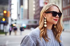 Fall Outfit, Winter Outfit, Grey Ruffle Sleeve Sweater, BonBon Earrings, Black Celine Sunglasses, Red Lipstick