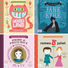 baby lit board books - alice in wonderland, jane eyre, romeo and juliet, pride and prejudice