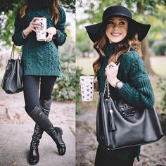 Those knee high boots, that green sweater and the hat <3