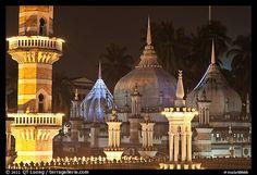 Minarets and domes at night Masjid Jamek. Kuala Lumpur, Malaysia (color)