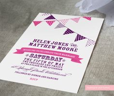 Bunting invitation aubergine and fuchsia