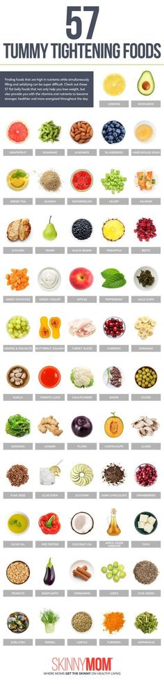 57 Tummy Tightening Foods. These flat belly foods help you lose weight and also provide you with the vitamins and nutrients to become a stronger, healthier woman. Popculture.com #popculture #infographic #flatbelly #weightloss #health