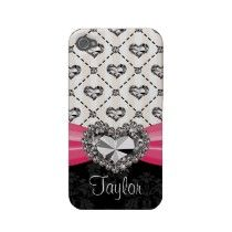 Hot Pink Bow Diamond Heart Rhinestone iPhone 4 Cass iPhone 4 Cover by cutecases