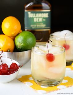 Meyer Lemon Whiskey Sour: ¾ cup fresh meyer lemon juice, ¾ cup fresh lime juice, 1 cup simple syrup, 1¼ cups whiskey, Ice cubes, Maraschino cherries