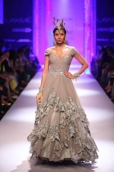 Layered grey Indian wedding fusion dress with off the shoulder sleeves by Shantanu & Nikhil at Lakme Fashion Week Winter 2014