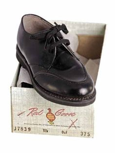 Vintage Childrens Shoes  Black Oxford Style  Leather NIB Red Goose