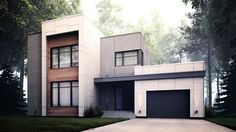 Zone C - Modèle A - Maison contemporaine style cubique Modern Small House Design, Mid Century Exterior, Sims House, House Goals, Architecture Design, Sweet Home, House Styles, Quebec, Villas