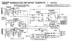"Fender ""Black Face"" Bandmaster Tube Amp Schematic - Model AB763"