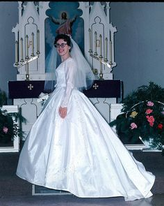 """Pat feigned embarrassment when her mother gave her a copy of """"Getting Through Your Wedding Night"""" - the less Mom knew the better. Bridal Wedding Dresses, Wedding Attire, Transgender, Vintage Bridal, Vintage Weddings, Vintage Wedding Photography, Bride Gowns, Beautiful Bride, Beautiful Gowns"""