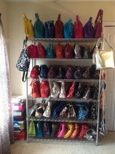 shoe & bag storage 20 Bag And Purse Storage Organization Ideas 20 Bag A Purse Rack, Diy Purse Organizer, Handbag Storage, Handbag Organization, Closet Organization, Organization Ideas, Storage Ideas, Purse Holder, Organizing Purses In Closet