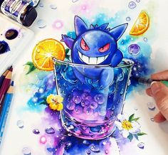 ☆Gengar Ghost Energie!☆ Yoooosh! My newest Pokemon Cocktail creation with Gengar. I had so much fun while painting this XD You can get the Original Painting at my Store -->> www.naschi.storenvy.com 》》Tools Dr. PH Martin's concentrated watercolors, Airbrush, Canson Mi-teintes watercolor paper, Opaque white #gengar #pokemon #pokemongo #manga