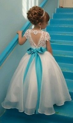 Cute Lace Long Flower Girl's Dresses with Bowknot_Girl's Formal Dress