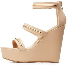 Charlotte Russe Bamboo Gold-Trim Three-Piece Wedges Gold Wedge Heels, Nude Wedges, Platform Wedges Shoes, Gold Wedges, Nude Sandals, Strappy Shoes, Nude Shoes, Shoes Heels Wedges, Shoes Sandals