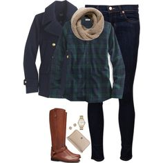 Navy pea coat, plaid shirt & knit scarf by steffiestaffie on Polyvore featuring L.L.Bean, J.Crew, J Brand, Tory Burch, Marc by Marc Jacobs, Dorothy Perkins and MANGO