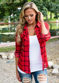 Roll Up Sleeves Button Up Plaid Top Red, Modern Vintage Boutique, ShopMVB, Women's Boutique, Online Shopping, Red Plaid Top, Plaid Top, Fashion, Style