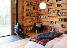 Secluded library retreat in the woods of New York state
