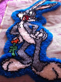 Vintage Handmade Latch Hook Rug Wall Hanging Tiger By