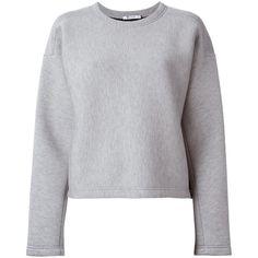 T By Alexander Wang Scuba Neoprene Sweatshirt (690 NZD) ❤ liked on Polyvore featuring tops, hoodies, sweatshirts, grey, sweatshirts hoodies, t by alexander wang sweatshirt, long sleeve sweatshirt, t by alexander wang and grey sweatshirt
