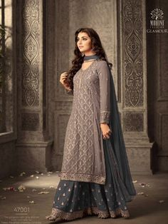Shop Grey and Purple Georgette Sharara Suit Online @ YOYO Fashion. Explore the Latest EID Dresses. Amazing EID Dresses, Suits, Sarees and Lehengas at Best Prices. Eid Dresses, Pakistani Dresses, Fashion Dresses, Pakistani Suits, Wedding Dresses, Bridal Anarkali Suits, Wedding Outfits, Cotton Dresses, Fashion Clothes