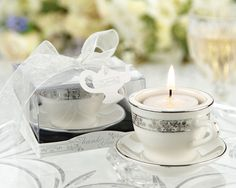 "Bridal Shower favors, ""Teacups and Tealights"" Miniature Porcelain Tealight Holders"