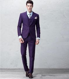 Custom Purple Slim Fit Mens Suit Groom Wedding Formal Tuxedos Suits Jacket Pants | eBay