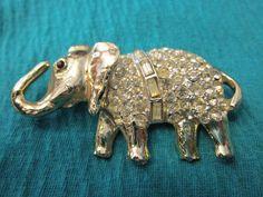 Weiss Elephant Pin Rhinestone Brooch Very Large by AVintageStore