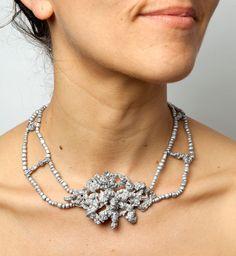 Barbara Schrobenhauser. Necklace: Rope, 2015. Aluminium and string.. Photo by: Mirei Takeuchi. On model.