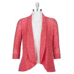Chance or Fate Juniors Open Front Lace Blazer #VonMaur #Coral