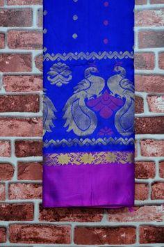 Purplish Blue Pure Pattu Saree with Zari polka dots all over & Purple Peacock Silk borders